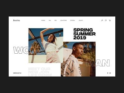 Bershka ui design streetwear webdesign moda fashion clean typography minimal website ux web design ui