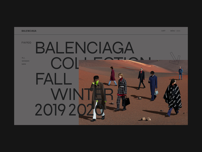 "Balenciaga Minimal Home Fall Winter ""Ethnic Landscape"" landscape ethnic wear moda fashion concept balenciaga luxury branding website webdesign web ux ui design ui typography minimal design clean"