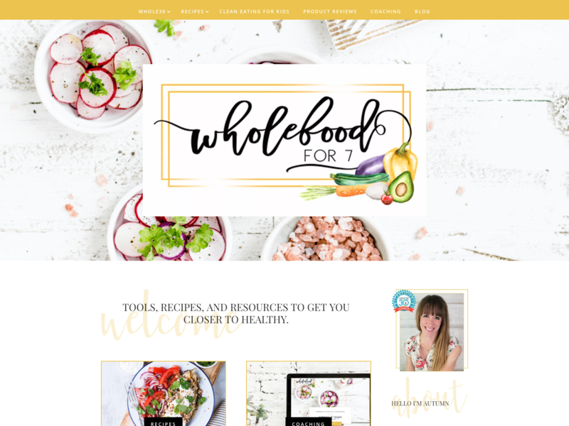Wholefoodfor7 | Website Design recipes health coach whole30 divi wordpress