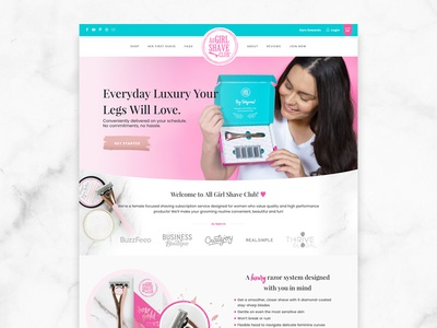 All Girl Shave Club Website Design website design shave club subscription box