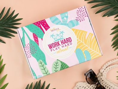 Subscription Box Design work hard play hard box design box retreat sparkle hustle grow package design subscription box