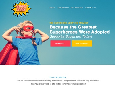 Superhero Adoption Website nonprofit divi wordpress website adoption superhero