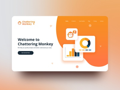 SEO Website Concept monkey logo monkey illustration chart orange website webdesign web ux app web design vector illustration typography logo design branding
