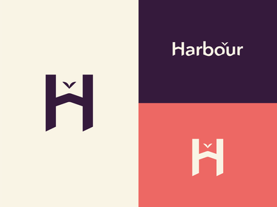 Harbour Properties Branding Concept red branding purple branding h letter h logo home logo house branding house logo flat minimal vector illustration blue typography logo icon design branding