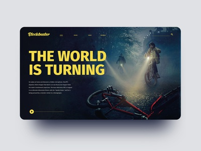 Blockbuster Web Concept stranger things netflix dark website yellow website ux design ux ui blockbuster web design vector blue typography logo icon design branding