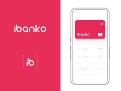 Bank Branding Concept app design bank app contactless card virtual card bank card bank logo pink logo pink branding bank branding bank app pink ui ux vector logo illustration icon branding design