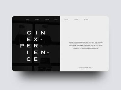 Gin Experience Website Concept restaurant website web layout gin website gin experience dark website black website logo illustration website animation flat minimal web ui ux design
