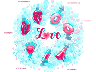 Love - heart's mystery or just brain's chemicals? based on sciense heart saali art wreath isometric adobe illustrator vector hormones brain chemistry science science illustration illustration valentine day love