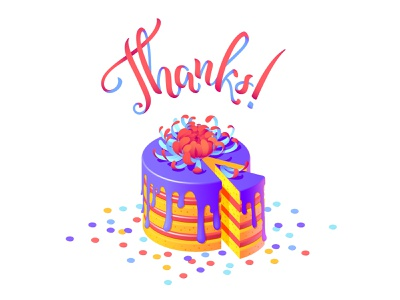 Thank you card with a cake vector illustration adobe illustrator digital illustration digital card design appreciation vector flowers vector art lettering flower illustration isometric illustration vector illustraion cake thanks for invite thanks