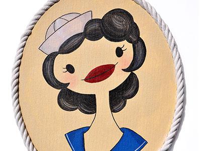 Sailor Portrait  sailor marinera tattoo starlette portrait handmade navy rope sea ship flash pin up