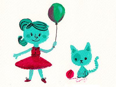 Katty & Kitty girl cat handmade character retro cute illustration kids