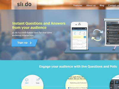 Slido Metro Style Website flat metro simple areas squares colours modern clear straight website background 3 steps