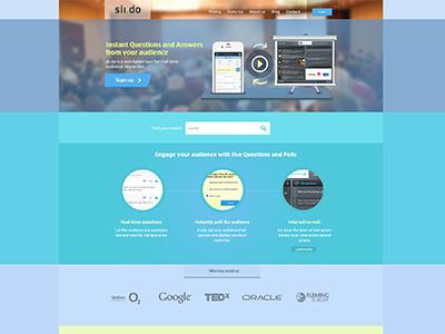 Sli.do Landing Page in FLAT slido flat style blue square areas metro ui ux landing page facebook video modern