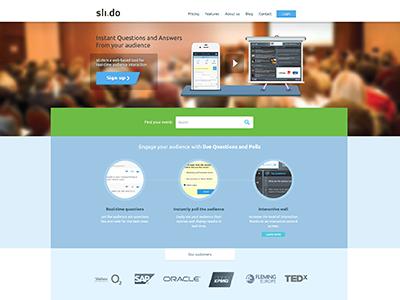 Sli.do Web in Flat style v2 ui blue modern style ux flat metro square areas slide landing