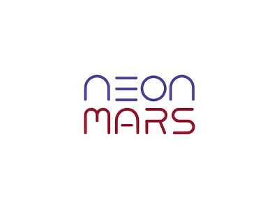 Neon Mars Logo lines font custom thin flat neon mars concept logo