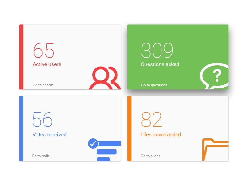 Slido Dashboard flat panel navigation analytics carousel cards menu dashboard slido