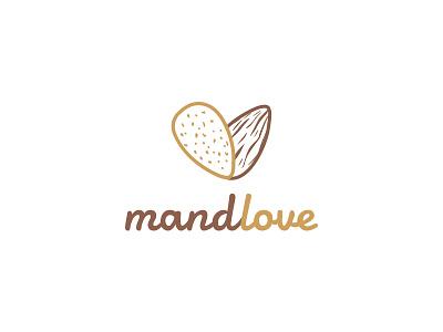 Mandlove Logo fruit brand symbol logo man love and tonsil almonds