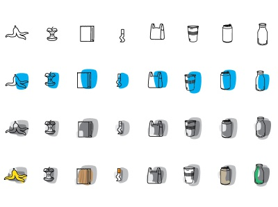 Infographic waste icons