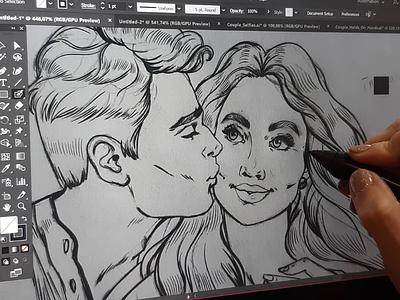 Couple Kiss Pop Art Style couple create drawing sketchart digital sketch art digitalart 2d wacom illustration ccharacterdesign chacter kiss woman man