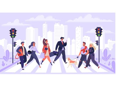 People Crossing Street crosswalk crossroad crossing downtown street skyscraper pedestrian cityscape vector art vector illustraion flat drawing concept design color character character design art adobe illustrator 2d