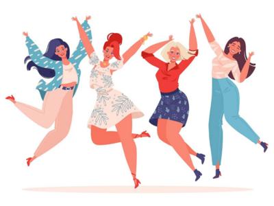 Jumping girls friendship motivation cute waving hands happy modern design smile girl woman art vector 2d character design charter cartoon digitalart illustration