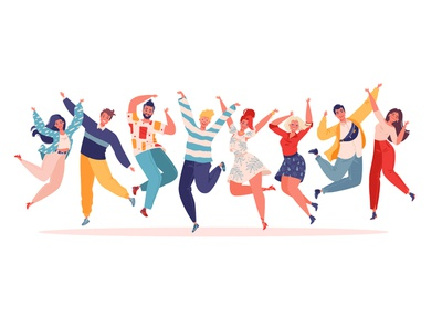 Group of young joyful jumping people with raised hands isolated positive fun friend happy happiness hands up group colleague cheerful celebration 2d people flat character cartoon concept character design adobe illustrator vector illustration