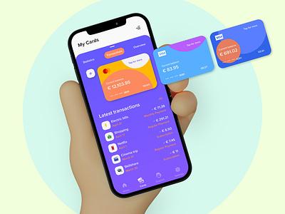 Where's my money, dude? cards ui money illustraion spending bank app ui design
