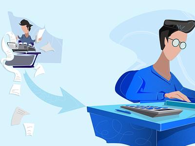 Change A2 grain line blue hair good accountant vector design illustration concept