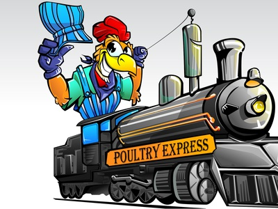 Poultry express 3 100 colorful fast chicken insurance vector train