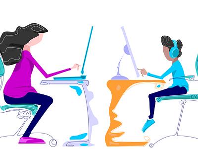 1 white 4x online school kid tutor accountant coffee colorful branding web design illustration