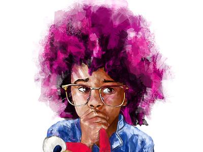 Incredible afro hair web design illustration
