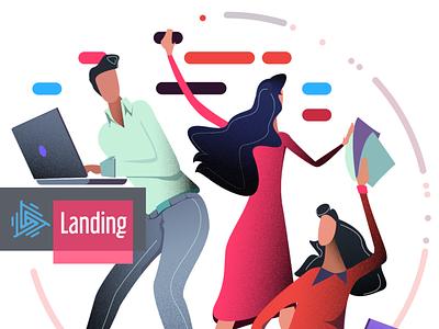 Marketing people illustration vector grain grain colorful coffee podcast branding vector web design concept illustration