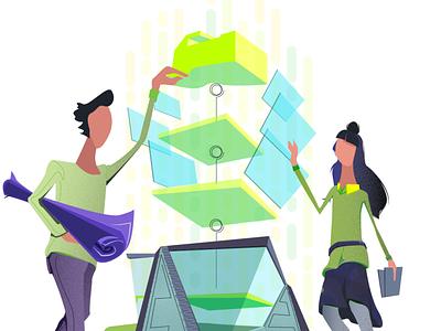 Mijn illustration 1 colorful concept vector building construction arhitecture illustration