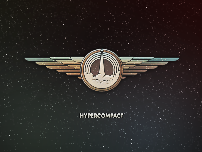 Get your wings. (web logo) illustration design space wings ship rocket hypercompact asset emblem mark logo brand