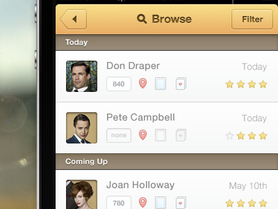 Browse iphone ui ui ux app design icons buttons mad men personal project ios