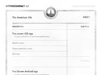 Hypercompact's invoice