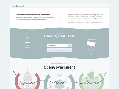 Working on OpenGovernment's Homepage (website) ppf website illustration typesetting design
