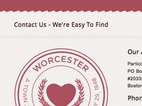 Sprucing up PCF's site to match PPF's, and Worcester's Seal