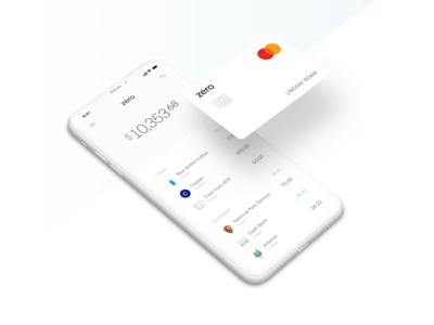 Zero cash mastercard product ui money finance banking bank card credit card zero