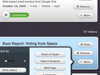 Contextual menus for Miro 4 (OSX app interface UI UX) design user ui buttons icon media open-source blue white miro app interface osx ux contextual