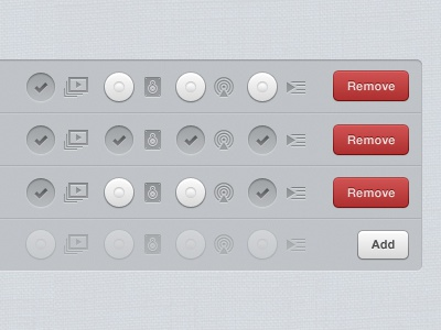 Sources in portrait (iPad iOS app interface UI UX) ios buttons design user ui interface miro button ipad red chrome app icon pcf linen ux