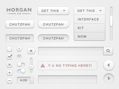 Chutzpah UI Design Kit (free button resource) free download ui user interface interface design app buttons button user resource