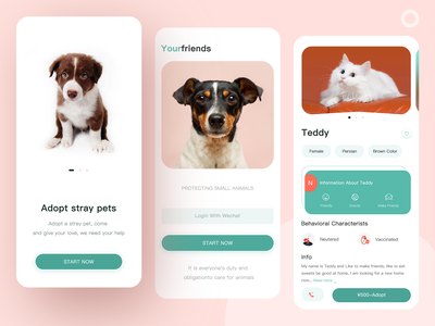 Pet Adoption App petals adoption petshop pets pet branding ui app design