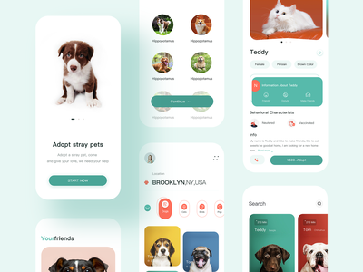 Pet Adoption App-3 minimal pets petshop adopt branding ui app design