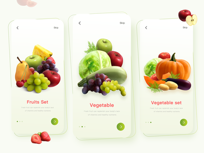 Onboarding UI Design animation minimal ux branding ui app design onboarding ui fruits vegetables delivery app organic food