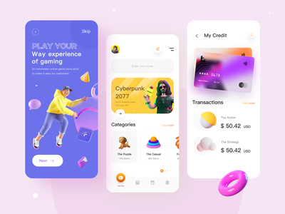 Game Store App branding design productdesign mobile gaming website animation gaming minimal ux type ui app recommended 3d cyberpunk app store games design
