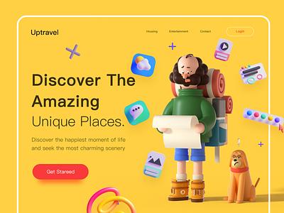 Uptravel :Tour & Travel 3D Website Explore travel app vector branding animals design train minimal typography 3d website tour travel