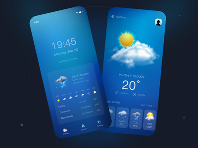 Weather Forecast App⛅️ ux type illustration minimal branding app ui design weather app weather forecast weather