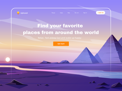 Uptravel Website Illustration illustration art illustrator ui design illustration typography minimal website branding tour tourism travel illustraion