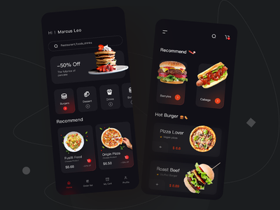 Food Mobile APP-Dark Version delivery service flat vector minimal branding ui app design food delivery dark version delivery food app